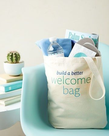 "Make enviable hotel bags or ""welcome bags"" for your out of town wedding guests without breaking budget!"
