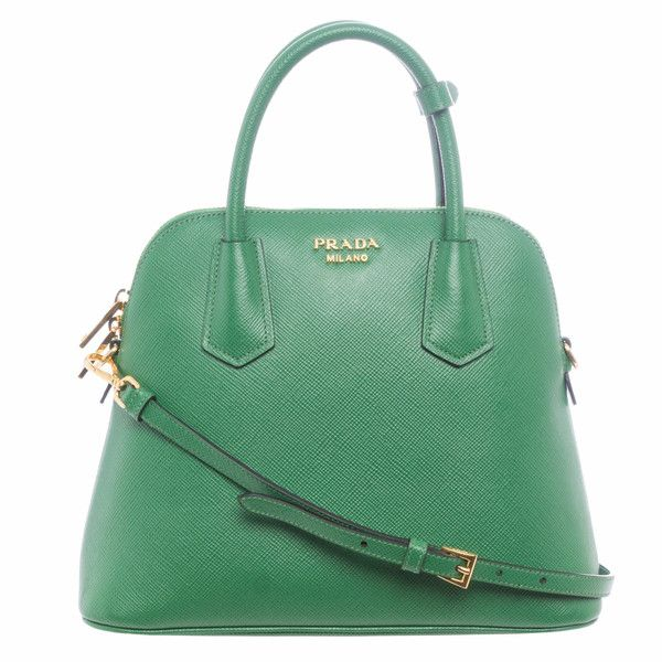Prada BL0907 2A4A F0089 Small Saffiano Leather Dome Satchel ($1,700) ❤ liked on Polyvore featuring bags, handbags, purses, prada purses, green handbags, prada handbags, purse satchel and dome handbags