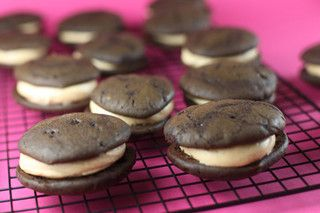 Bakerella:  Classic Chocolate Whoopies with Salty Peanut Butter Filling