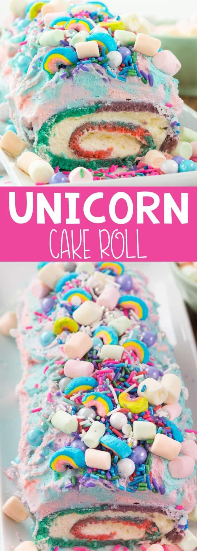 Unicorn Cake Roll - an easy cake roll recipe that is all things rainbow and UNICORN! Colorful cake and frosting, pudding whipped cream, sprinkles, marshmallows and all things glitter and fun.