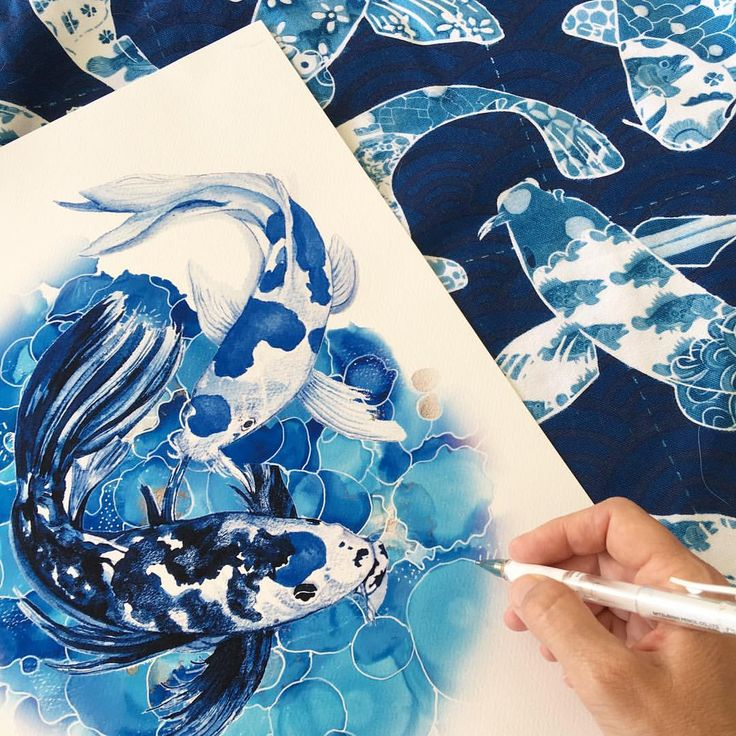 """386 Likes, 27 Comments - Michelle Grayson (@sproutgallery) on Instagram: """"Pretty Koi fish print from original mixed media artwork. I am fascinated by these fish. #koifish…"""""""