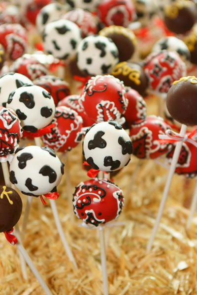 Cute way to decorate cake pops for your Western Mystery Party