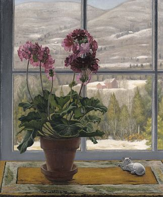In an Old Maid's Window, ca. 1933-1934, Woodford Royce, oil on canvas, 30 1/4 x 25 in. (76.7 x 63.5 cm), Smithsonian American Art Museum, Transfer from the U.S. Department of Labor, 1964.1.105