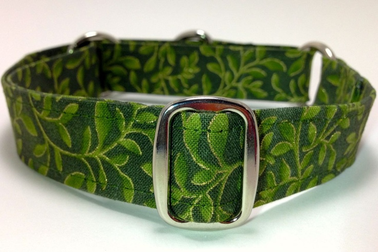 Green Large Leafy Vines Martingale Dog Collar - Ready to Wear. $17.00, via Etsy.