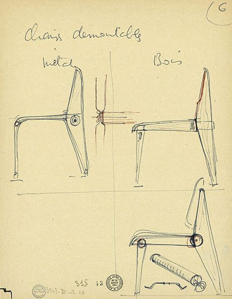 Jean Prouvé - This appears to be an early sketch of the Demountable, Model 300 chair. via Centre Pompidou: