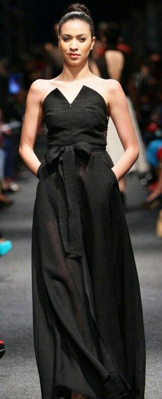 Black linen dress by ZARTH