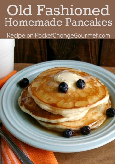 Old Fashioned Homemade Pancakes and waffles- double this for 3 waffles!   Recipe on PocketChangeGourmet.com