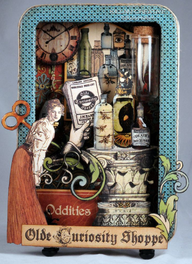 Altered Tins Treasures await in the Old Curiosity Shoppe by Susan Killam / Killam Creative / http://www.killamcreative.blogspot.fr/