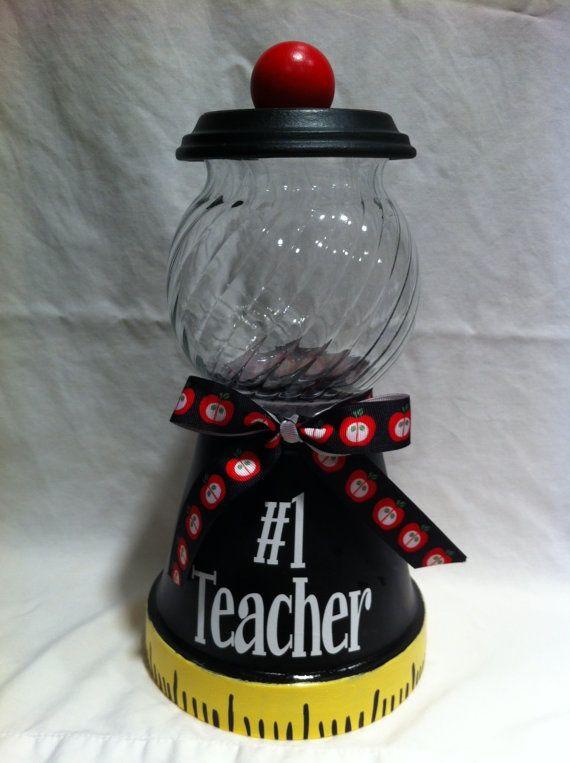 Painted terra cotta pot teacher candy jar.
