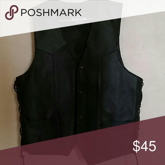 Leather biker vest Leather front pockets, crisscrossed sting sides JH Biker Other