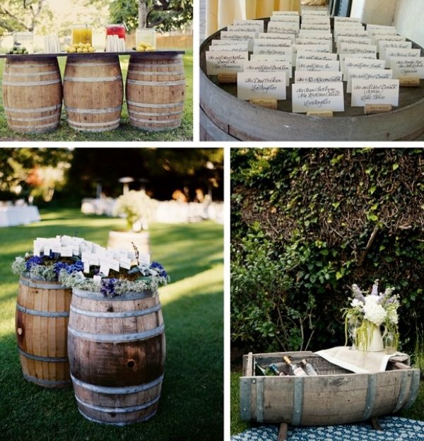 Barrels are great pieces that bring together a rustic or vintage feel to a wedding.  They can be used in many ways...and they make for great for DIY home decor pieces for your first home together!
