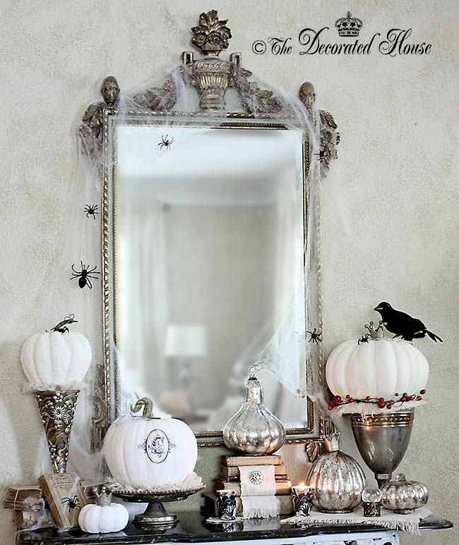 the decorated house elegant halloween decorating with black white and silver - Elegant Halloween Decor