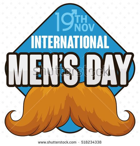 Poster with blond masculine mustache design in a signal with reminder date of International Men's Day in November 19.