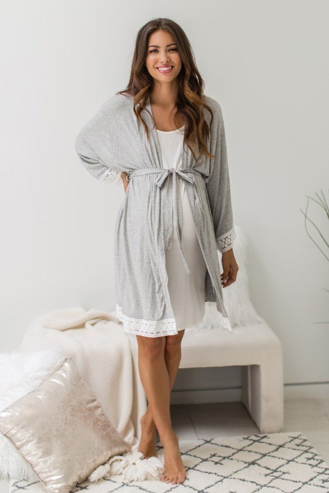 Solid Mauve Hospital and Delivery Robe Mauve Maternity Robe
