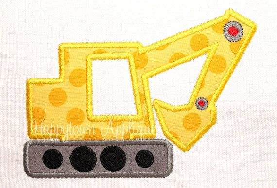 Excavator Machine Embroidery Design by HappytownApplique on Etsy, $4.00