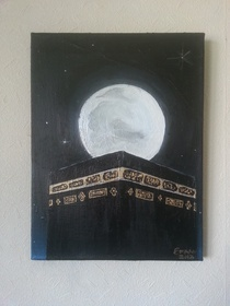 "Lailatul Qadr (Night of Power).      According to Islamic teaching there is night during the month of Ramadan which is better than a thousand months. It is a night when sins will be forgiven for the one who is ready to ask forgiveness and perform acts of worship throughout the night. This night is called Laitatul Qadr.  Painted in Acrylic on a 16"" x 12"" stretched canvas.  £120.00 from the Art of Emaan Art Store."