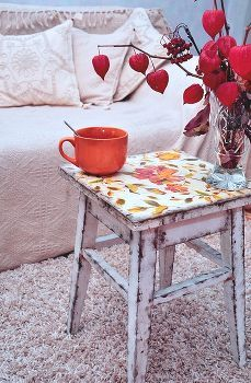 decoupage old stool (not like this) but use as small end table