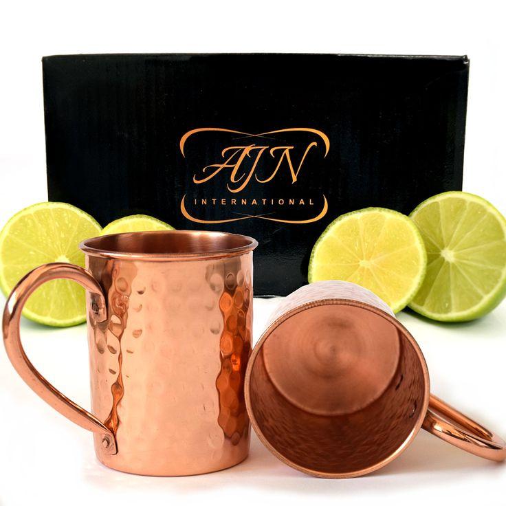 AJN International Moscow Mule Copper Mugs Set of 2 - 100% Pure Copper - 16 Oz Copper Moscow Mule Mugs - Solid Copper Hammered Mug - Copper Cups for Moscow Mules - Luxury Gift Set