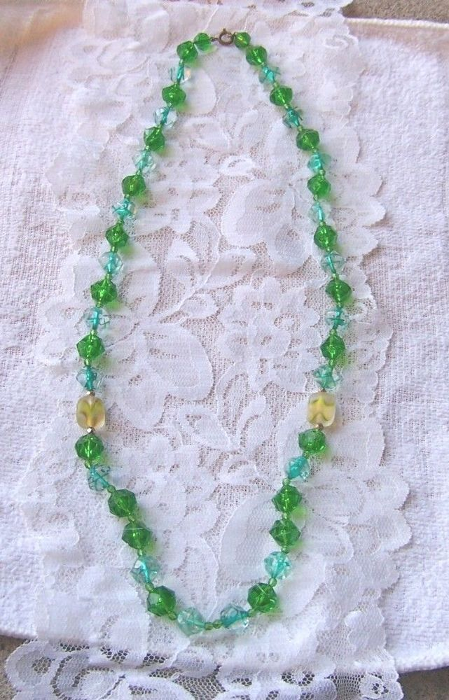 Vintage Signed Western Germany Shades of Green Bead Necklace & Cluster Earrings