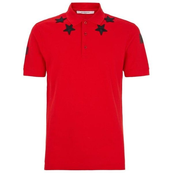 Givenchy Star Polo Shirt ($430) ❤ liked on Polyvore featuring men's fashion, men's clothing, men's shirts, men's polos, men's spread collar dress shirts, givenchy mens shirt, mens star wars shirts, mens polo shirts and mens red polo shirt