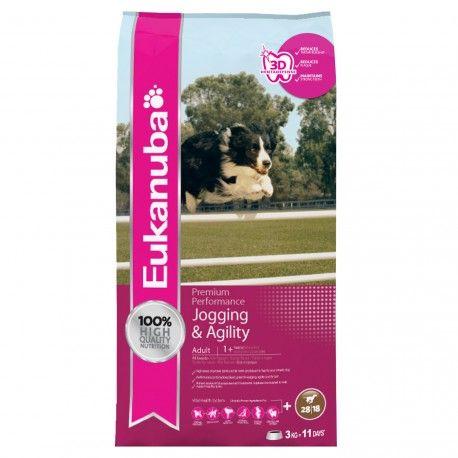 Eukanuba Jogging & Agility, alimento completo e equilibrado, ideal para todos os cães que realizem atividades ao ar livre de forma regular, como por exemplo, jogging, conferindo todos os nutrientes necessários que o seu cão necessita.
