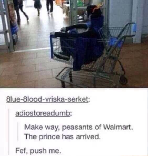 Make way, peasants of Walmart. The prince has arrived! Eridan: Fef, push me!