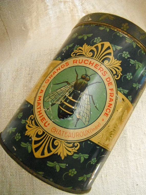 French Vintage Tole Tin Canister Bees by FrenchCountryLiving