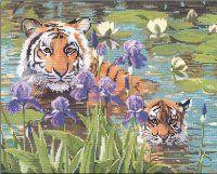 Вышивка Тигры в ирисах
