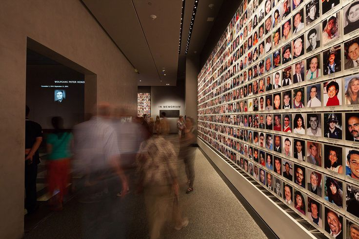 The Memorial Museum (9/11) tells the stories of that unprecedented day, memorializes the victims and enables visitors to better know their own experience of the event and the world that has evolved out of it. ['Zone of the Many' - enormity of loss. At centre is 'Zone of the One' - images and narratives of each victim]
