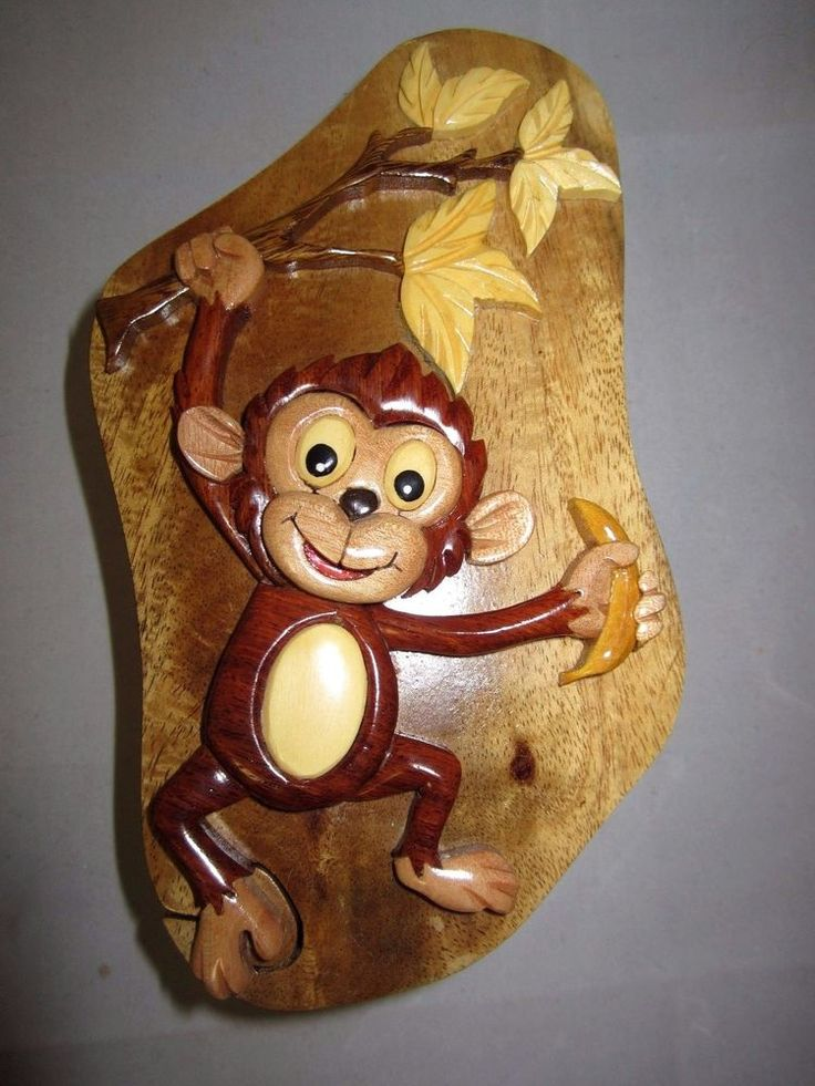 World Design Monkey Hand Crafted Carved Wood Puzzle Jewelry / Trinket Box  | eBay