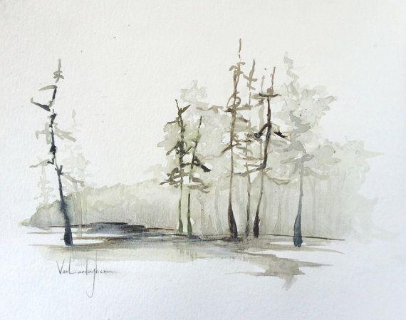 Originele aquarel landschap schilderij  Cipressen 2 door MAVworks