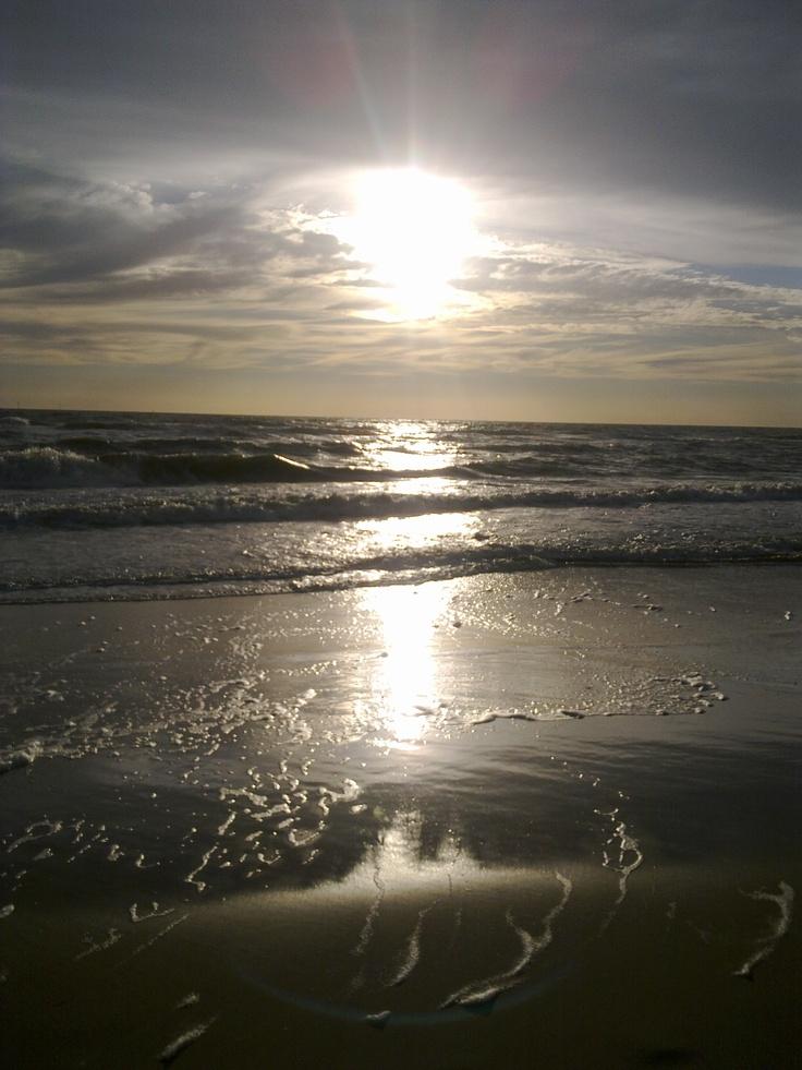 The sunset. An evening at the beach. Near Schoorl, the Netherlands.