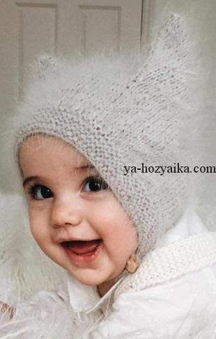 шапка с ушками для малыша спицами детская шапочка с описанием