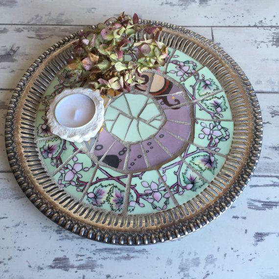 Vintage Broken China Mosaic Silver Tray -Handpainted Pink and Green