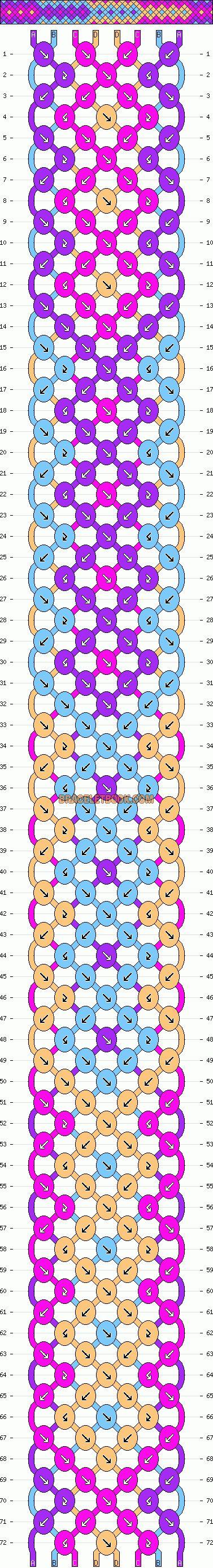 Gradient arrowhead pattern for friendship bracelets
