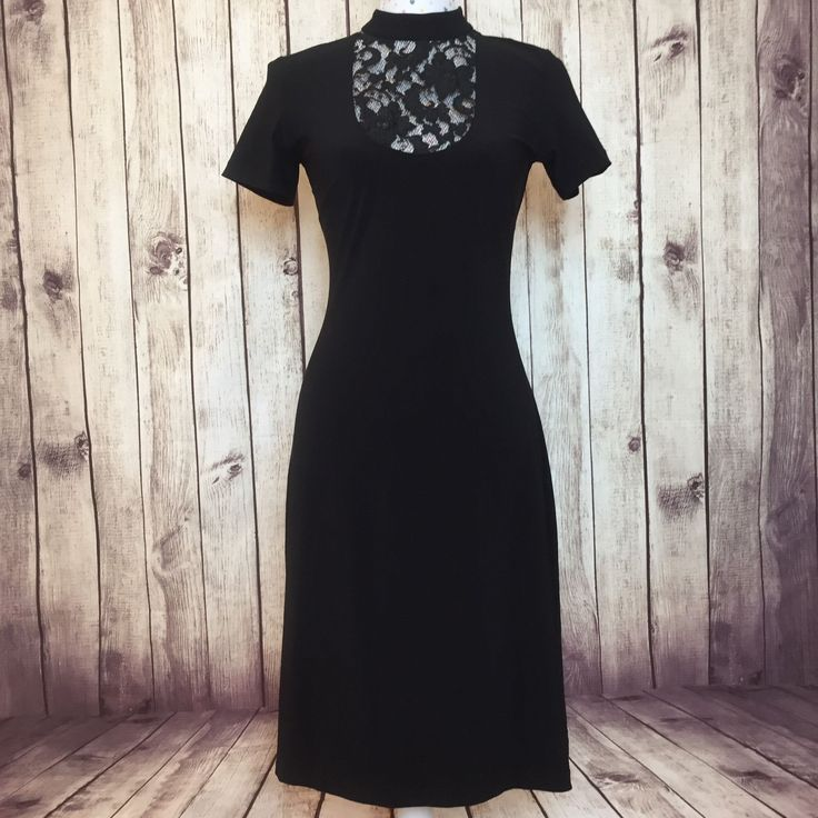 LEONA EDMISTON Dress Size S Cocktail Party Work Black Short Sleeve Midi Lace | eBay