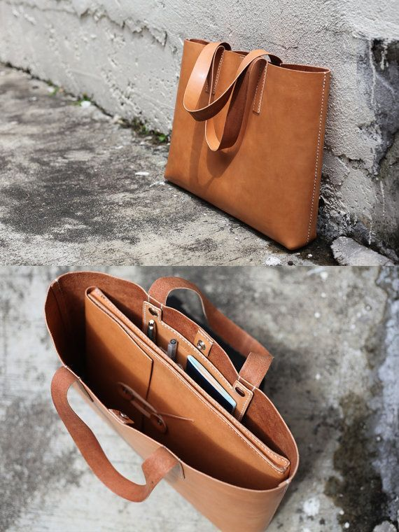 Handmade Leather Tote Bag  made to order by LoraynLeather on Etsy,
