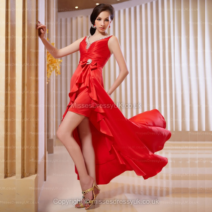 A-line V-neck Chiffon Asymmetrical Red Beading Cocktail Dress