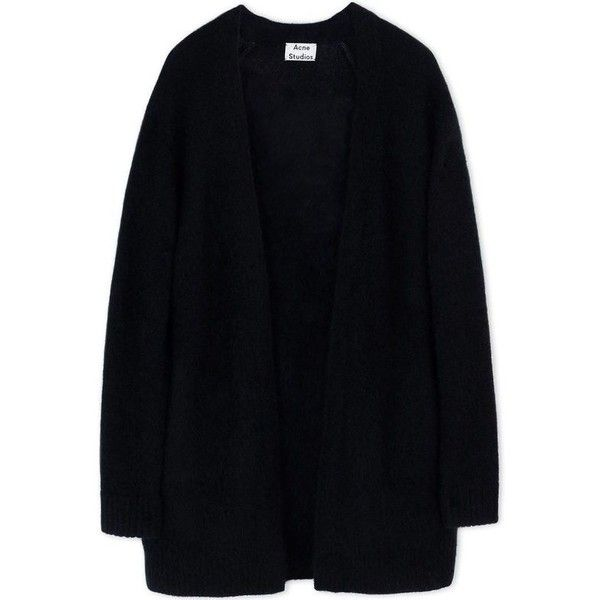 Acne Studios Black Wool-Blend Cardigan ($400) ❤ liked on Polyvore featuring tops, cardigans, black, outerwear, lightweight cardigan, acne studios, black cardigan, black top and lightweight black cardigan