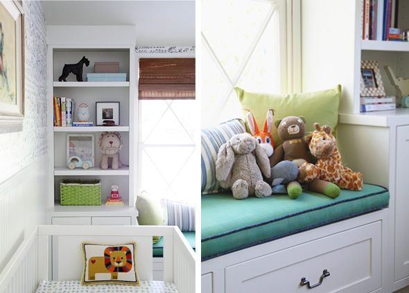 boy's modern and vintage nursery, like that its kid-friendly without being too babyish