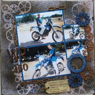 Love this gritty masculine look!  Multi-photo Scrapbooking Layouts Gallery: WR 250....