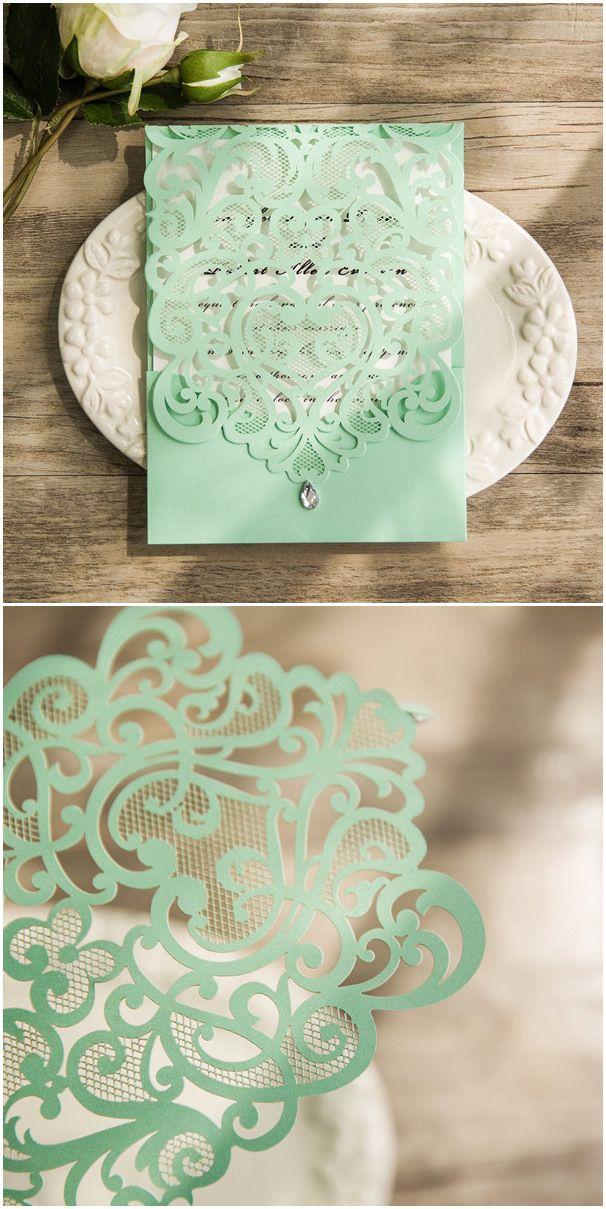mint green laser cut rhinestone laser cut invites ewws108