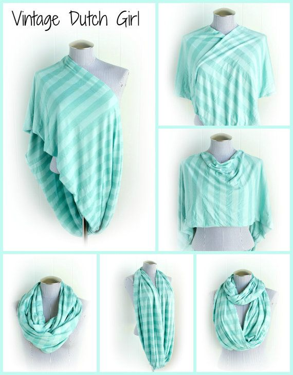 Gorgeous Mint Striped Nursing Cover Infinity Scarf. Perfect gift for a new mom or for yourself :)