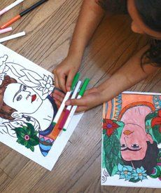 Art History Lesson: Free Frida Kahlo Printable: Celebrate Mexican artist Frida Kahlo with this fun coloring activity