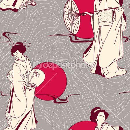 Вектор традиционные японские гейши бесшовный фон — Векторная картинка #12124341