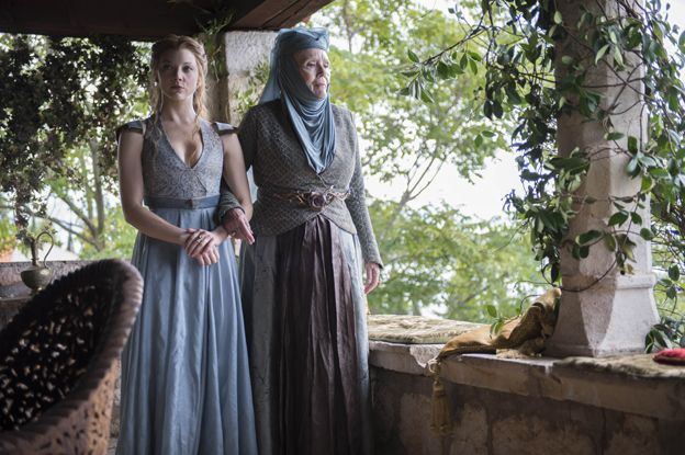 Margaery Tyrell (Natalie Dormer) and Lady Olenna Redwyne (Diana Rigg)--A departure from Mrs. Peel!!