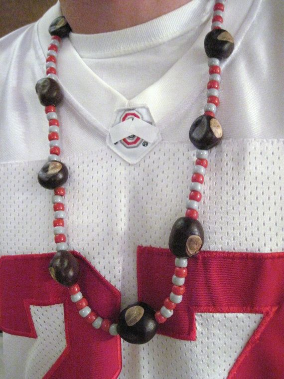 Real Ohio Buckeye Necklace with Red and Gray Beads | Gray ...