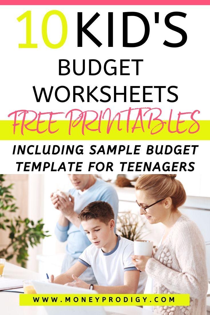 13 Kid S Budget Worksheets Plus Sample Budget Template For Teenagers Teens Budget Kids Money Management Budgeting Worksheets
