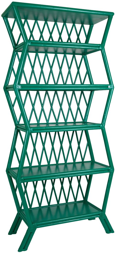Hollywood Etagere. Mid Century Modern Rattan Design By David Francis. Shown  In Emerald