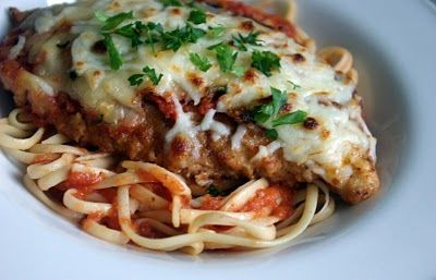 Really simple Chicken Parm!  Great to make a large amount than have all week....with brown rice, in a wrap, on a whole wheat english muffin, or on top of a pizza:)